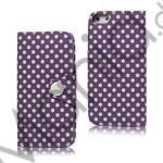 Image of   Polkaprikket Magnetisk Wallet Leather Case iPhone 5 cover - Lilla