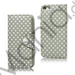 Image of   Polkaprikket Magnetisk Wallet Leather Case iPhone 5 cover - Grå