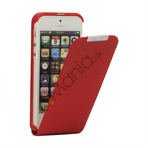 Image of   Lodret PU Leather Flip Case iPhone 5 cover - Red
