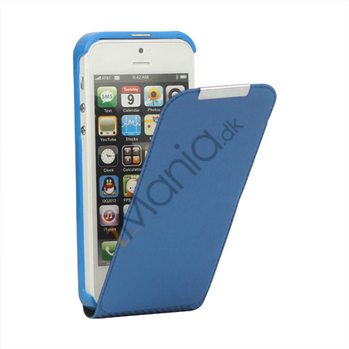 Image of   Lodret PU Leather Flip Case iPhone 5 cover - Blå