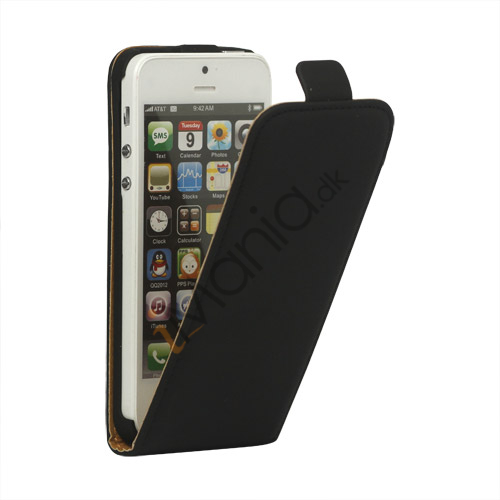 Image of   Lodret Læder Magnetisk Case iPhone 5 cover - Sort