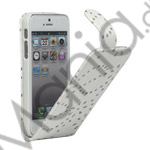 Image of   Lodret Magnetisk glitrende Powder Floral Flip Læder Taske til iPhone 5 - Hvid