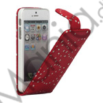 Image of   Lodret Magnetisk Glittery Powder Floral Flip Leather Case til iPhone 5 - Red