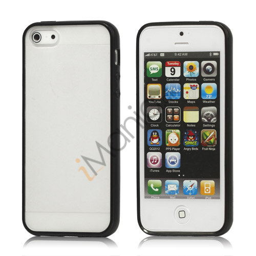 Frosted Plastic  and  TPU Hybrid Case iPhone 5 cover - Sort