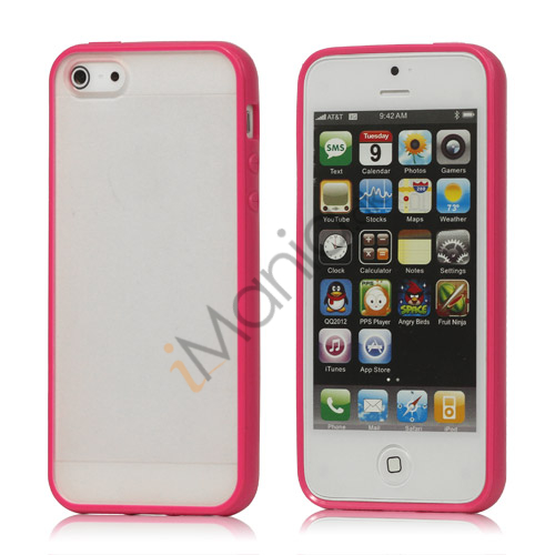Frosted Plastic  and  TPU Hybrid Case iPhone 5 cover - Rose