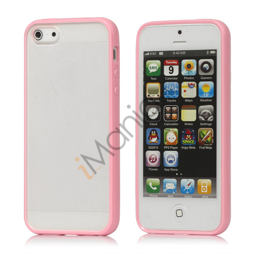Frosted Plastic  and  TPU Hybrid Case iPhone 5 cover - Pink