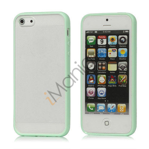 Frosted Plastic  and  TPU Hybrid Case iPhone 5 cover - Grøn