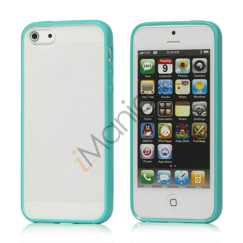Frosted Plastic  and  TPU Hybrid Case iPhone 5 cover - Cyan