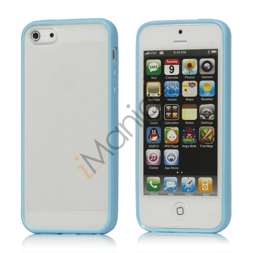 Frosted Plastic  and  TPU Hybrid Case iPhone 5 cover - Baby Blå