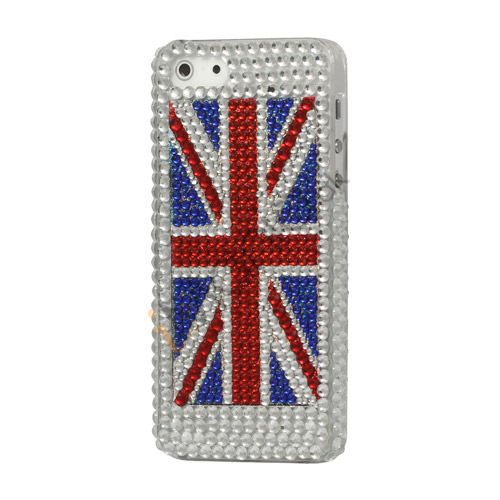 Glitrende Union Jack UK Flag Smykkesten Case iPhone 5 cover