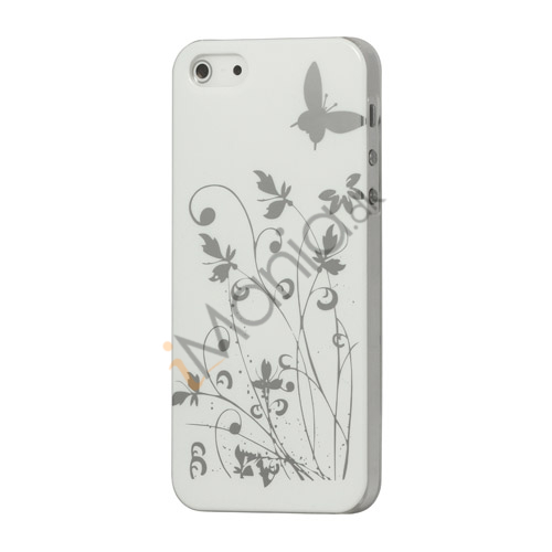Billede af Sommerfugl Blomster Hard Case til iPhone 5 - Hvid