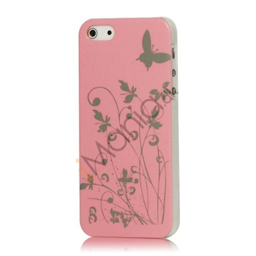 Sommerfugl Blomster Hard Case til iPhone 5 - Pink