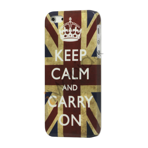 Keep Calm and Carry on Union Jack Flag Plastic Case iPhone 5 cover