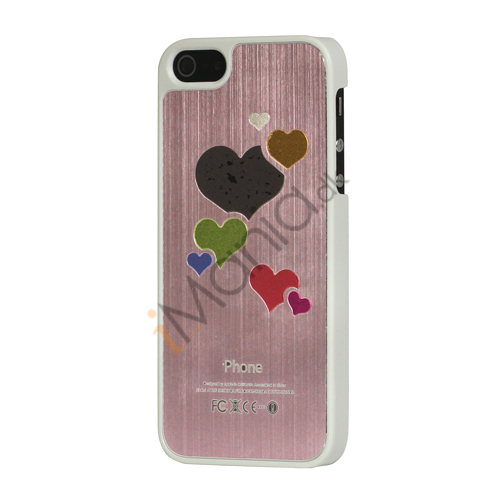 Hjerte Børstet Hard Plastic Case Cover til iPhone 5 - Pink