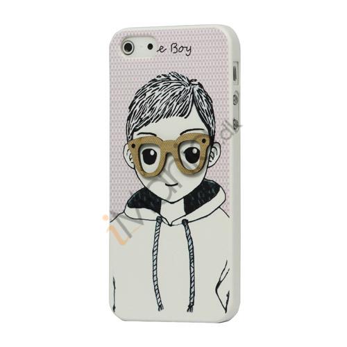 Billede af High Quality Handsome Boy med briller Hard Case til iPhone 5