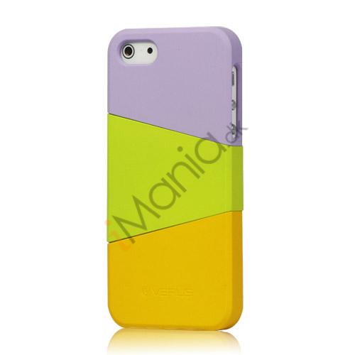 Billede af Farvelagt Triplex Slide Hard Plastic Cover Case til iPhone 5 - Lilla