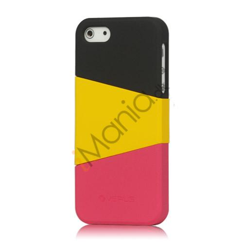 Billede af Farvelagt Triplex Slide Hard Plastic Cover Case til iPhone 5 - Sort