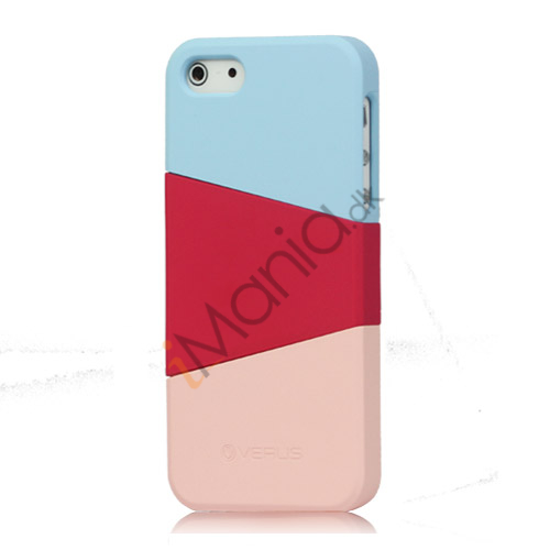 Farvelagt Triplex Slide Hard Plastic Cover Case til iPhone 5 - Baby Blå