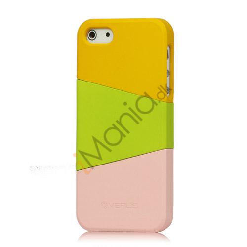 Billede af Farvelagt Triplex Slide Hard Plastic Cover Case til iPhone 5 - Gul