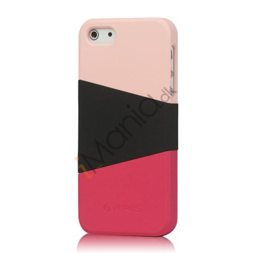 Image of   Farvelagt Triplex Slide Hard Plastic Cover Case til iPhone 5 - Pink