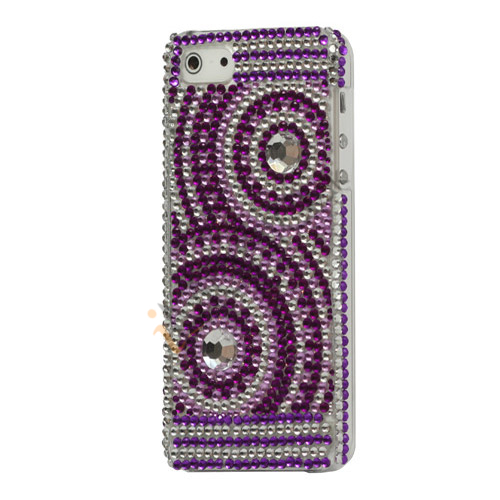 Diamante koncentriske cirkler Bling Case iPhone 5 cover - Hvid / Lilla