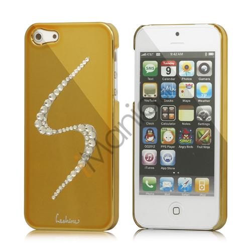 Image of   S-Line Series Glitter Smykkesten Galvaniseret Hard Case Cover til iPhone 5 - Gold