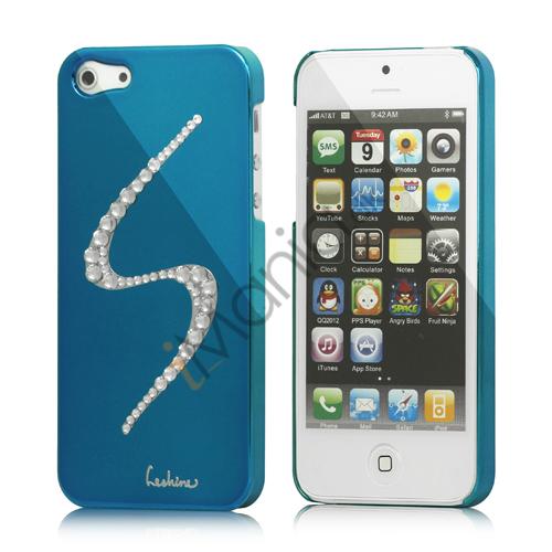 Image of   S-Line Series Glitter Smykkesten Galvaniseret Hard Case Cover til iPhone 5 - Capri Blå