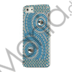 Image of   Koncentriske cirkler Smykkesten Bling Case iPhone 5 cover - Hvid / Blå