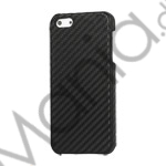 Image of   Carbon Fibre Læder Coated Hard Case til iPhone 5 - Sort