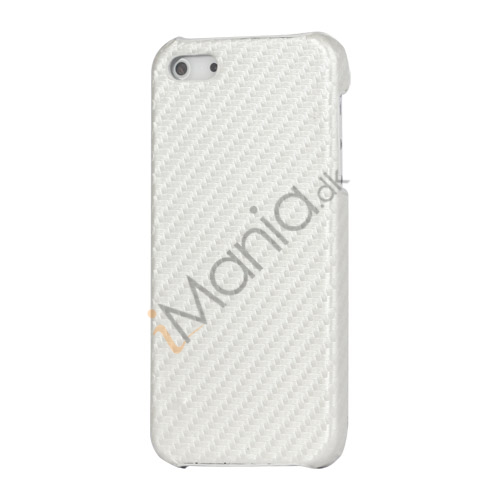 Carbon Fibre Læder Coated Hard Case til iPhone 5 - Hvid