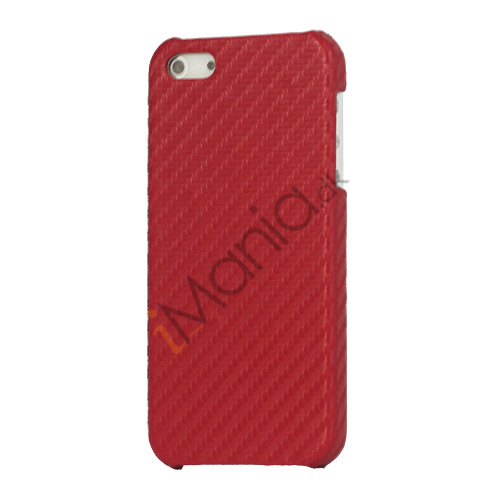 Carbon Fibre Læder Coated Hard Case til iPhone 5 - Rød