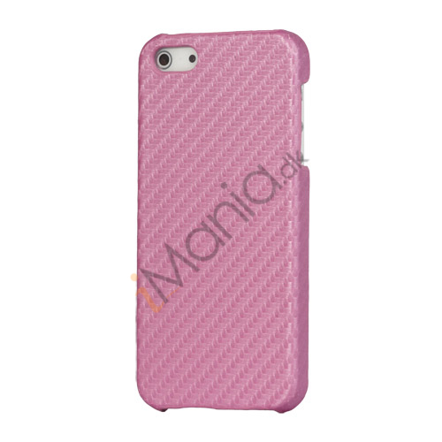 Carbon Fibre Læder Coated Hard Case til iPhone 5 - Pink