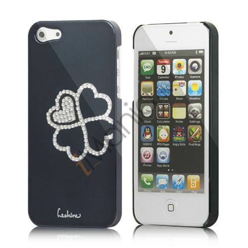 Image of   Kløver Cadmieret Diamant Case Cover til iPhone 5 - Sort