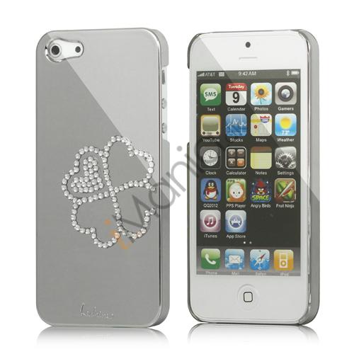 Image of   Kløver Cadmieret Diamant Case Cover til iPhone 5 - Sølv