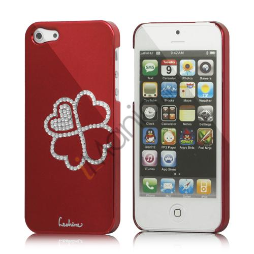 Image of   Kløver Cadmieret Diamant Case Cover til iPhone 5 - Vinrød