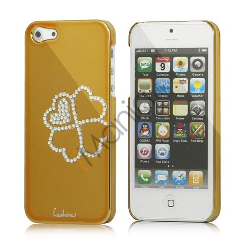 Image of   Kløver Cadmieret Diamant Case Cover til iPhone 5 - Gold