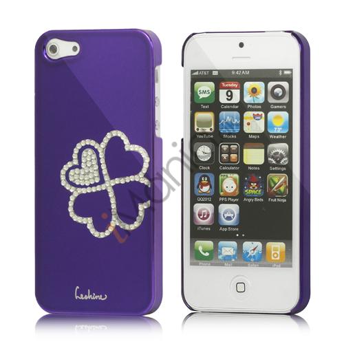 Image of   Kløver Cadmieret Diamant Case Cover til iPhone 5 - Violet Lilla