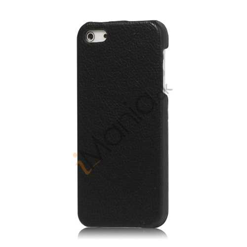 Image of   Lychee Læder Skin Hard Plastic iPhone 5 cover - Sort