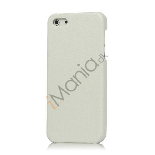 Lychee Læder Skin Hard Plastic iPhone 5 cover - Hvid