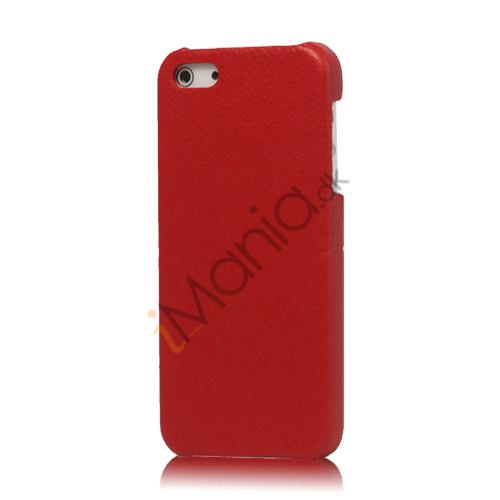 Lychee Læder Skin Hard Plastic iPhone 5 cover - Rød