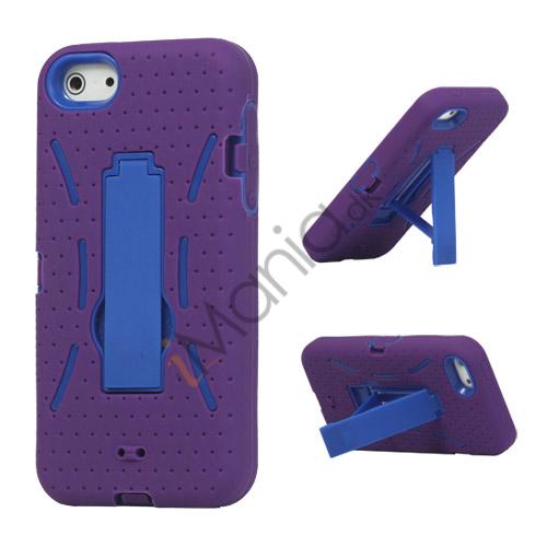 Billede af Snap-on Defender Case Cover med Holder til iPhone 5 - Lilla / Blå