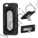 Image of   Børstet Metal and Plastic Combo Stand Case iPhone 5 cover - Sort