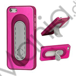 Image of   Børstet Metal and Plastic Combo Stand Case iPhone 5 cover - Rose
