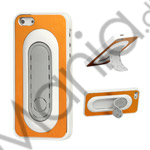 Image of   Børstet Metal and Plastic Combo Stand Case iPhone 5 cover - Gul / Hvid Kant
