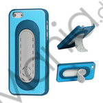 Image of   Børstet Metal and Plastic Combo Stand Case iPhone 5 cover - Blå