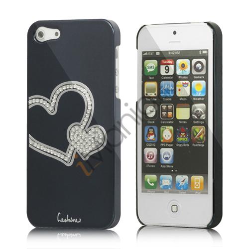 Image of   Hjerte Smykkesten Indlagt Galvaniseret Hard Case til iPhone 5 - Sort