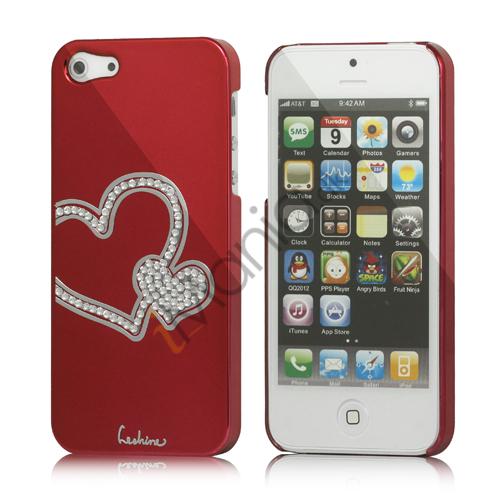 Image of   Hjerte Smykkesten Indlagt Galvaniseret Hard Case til iPhone 5 - Vinrød