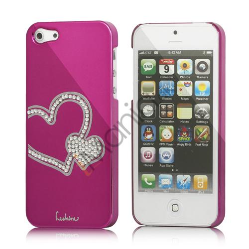 Image of   Hjerte Smykkesten Indlagt Galvaniseret Hard Case til iPhone 5 - Rose