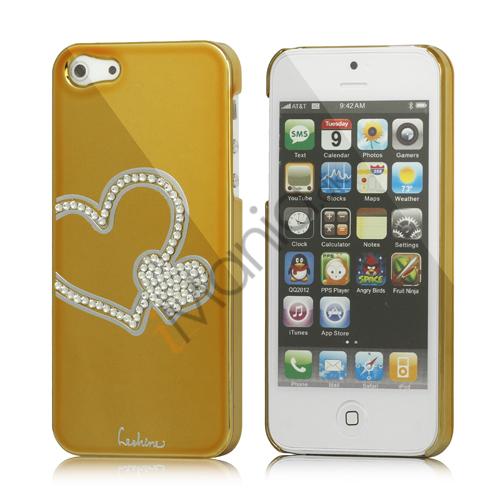 Image of   Hjerte Smykkesten Indlagt Galvaniseret Hard Case til iPhone 5 - Gold