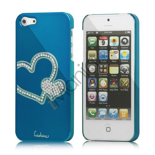 Image of   Hjerte Smykkesten Indlagt Galvaniseret Hard Case til iPhone 5 - Capri Blå